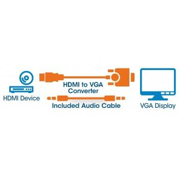 CABLE CONVERTIDOR MANHATTAN HDMI A VGA + AUDIO 3.5MM 1080P M-H [ 151559 ][ AC-4065 ]