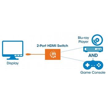 SWITCH HUB HDMI MANHATTAN DE 2 PUERTOS CON BOTON DE SELECCION MANUAL [ 207416 ][ AC-4846 ]