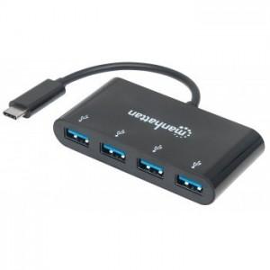 HUB USB -C (3.1) MANHATTAN 4 PUERTOS COLOR NEGRO [ 162746 ][ AC-5495 ]
