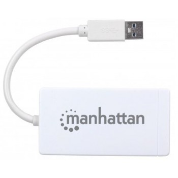 HUB MANHATTAN DE 3 PUERTOS USB 3.0 CON ADAPTADOR GIGABIT ETHERNET. UN PUERTO 10 100 1000 MBPS [ 507578 ][ AC-5866 ]