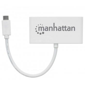 HUB MANHATTAN USB-C 3 PTOS AH SIN FUENTE + 1 PTO CH DE ENERGIA  [ 163552 ][ AC-7246 ]